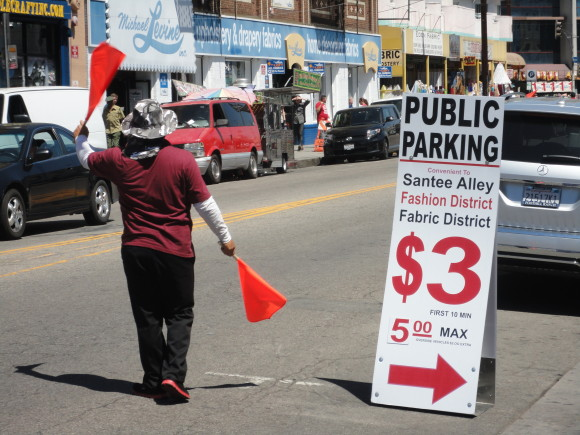 Parking in LA's garment district:  Fighting for customers