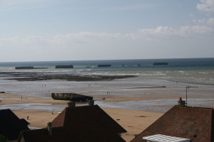 Remnants of the Mulberry Harbour at Arromanches